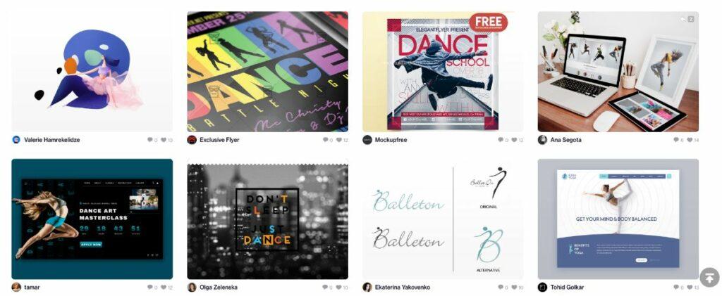 Dribbble dance school websites